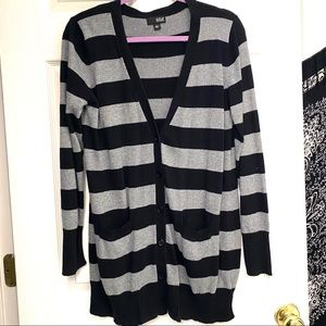 Ana Grey Black Button-Up Sweater Cardigan L